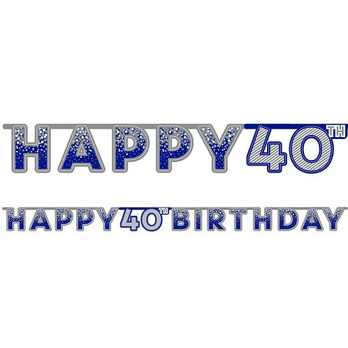 40th Happy Birthday Letter Banner Blue