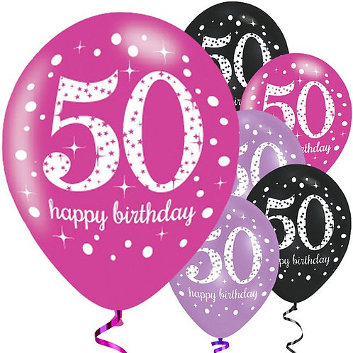 50th Birthday Pink Mix Latex Party Balloons