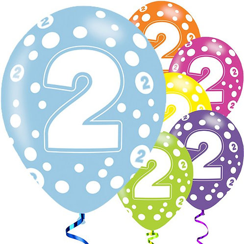 2nd Birthday Assorted Colour Balloons