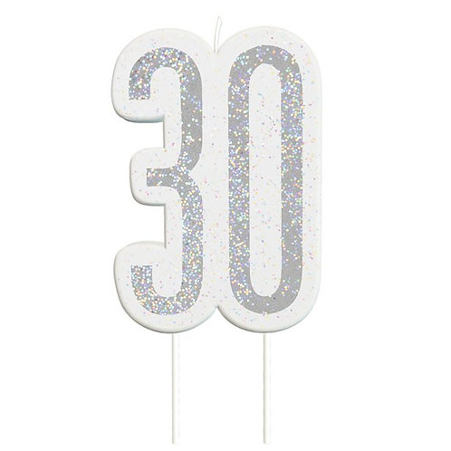 30th Birthday Silver Glitter Cake Candle