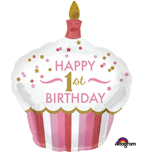 1st Birthday Cupcake Balloon Pink