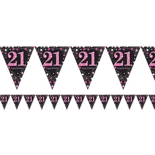 21st Pink Prismatic Number Foil Bunting