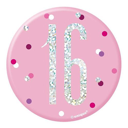 16th Birthday Pink Badge
