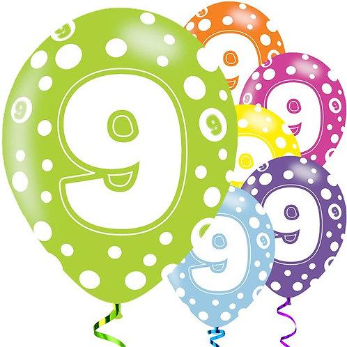 9th Birthday Colour Balloons