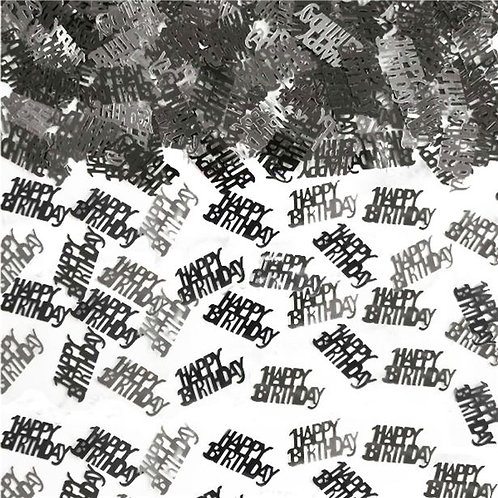 Happy Birthday Black & Silver Metallic Table Confetti