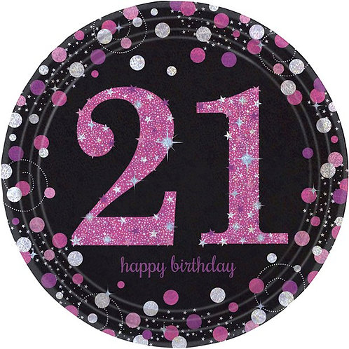 21st Pink Celebration Paper Plates