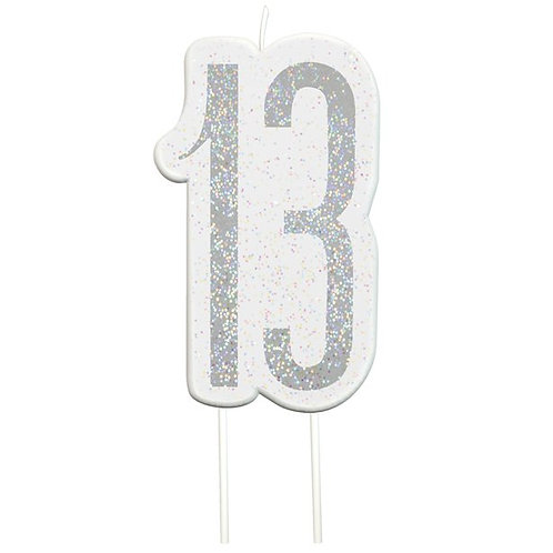 13th Birthday Silver Glitter Cake Candle