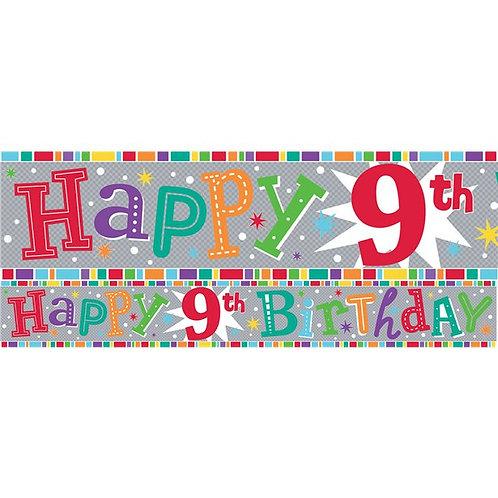 9th Birthday Foil Birthday Banner