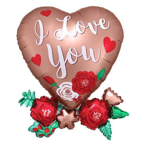 Heart with Flowers Shape Foil Balloon