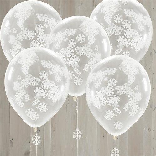 Christmas Snowflake Confetti Balloons