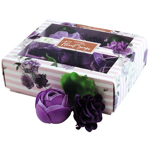 Boxed Scented Purple Floral Soaps