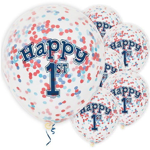 1st Birthday Blue And Red Confetti Balloons