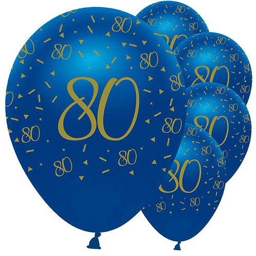 80th Happy Birthday Navy And Gold Balloons