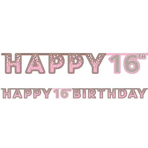 16th Happy Birthday Letter Banner Pink