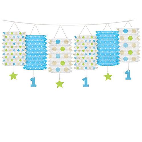 1st Birthday Blue Mix Lantern Garland