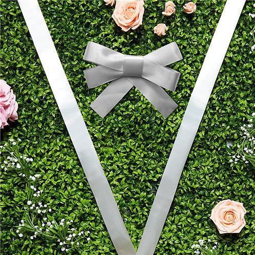 Wedding Day Car Ribbon And Bows Kit Silver