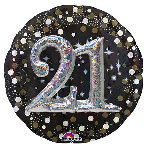 21st Gold Sparkling Celebration 3D Foil Balloon