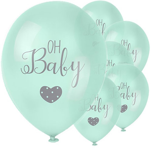 Oh Baby Mint Latex Balloons