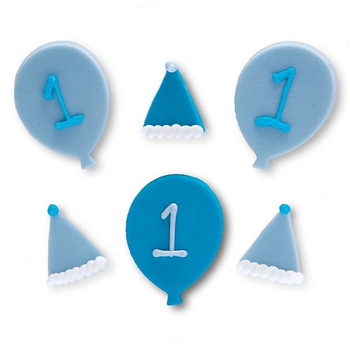 1st Birthday Blue Sugar Cake Toppers