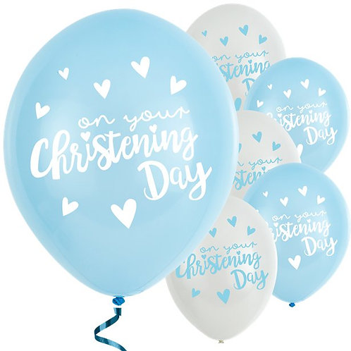 Christening Day Blue Latex Balloons