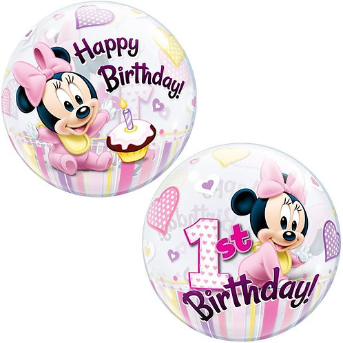1st Birthday Minnie Mouse Pink Bubble Balloon