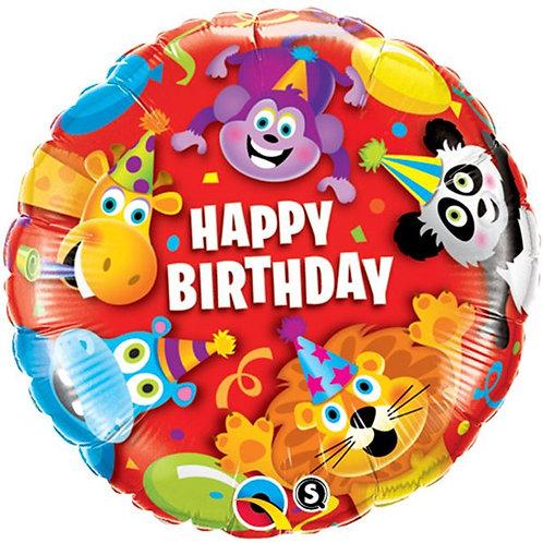Happy Birthday Party Animals Kids Foil Balloon