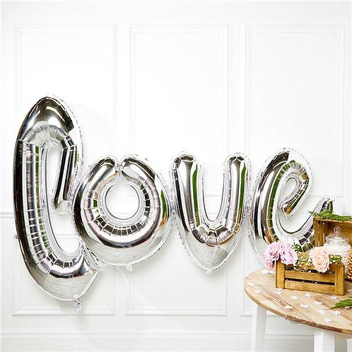Giant Silver Love Foil Balloon
