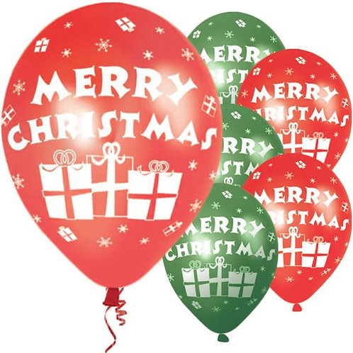 Merry Christmas Red & Green Presents Balloons