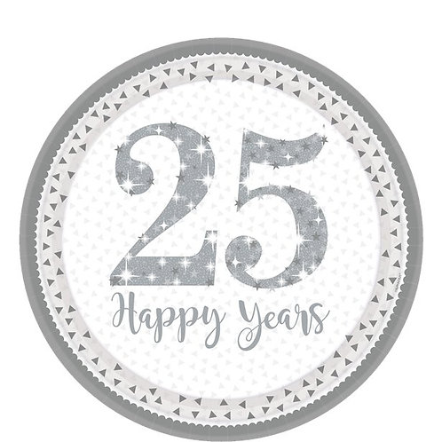 25th Silver Sparkling Wedding Anniversary Paper Plates