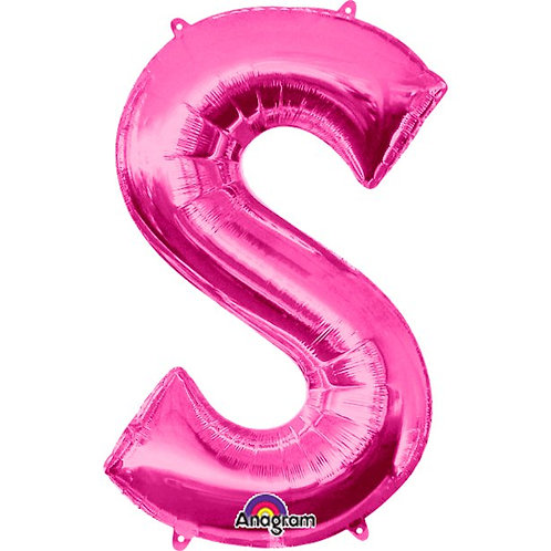 """Giant Foil Helium Letter S Balloons Size 34"""" Pink"""