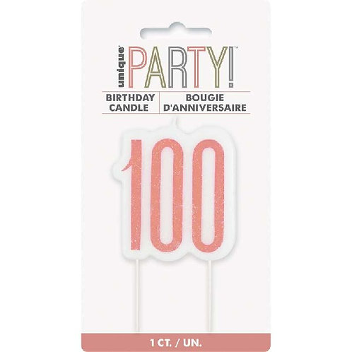 100th Rose Gold Cake Candle