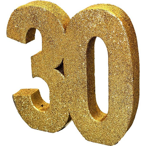 30th Birthday Table Centrepiece Number Gold