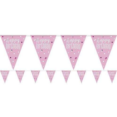 Happy Birthday Pink Glitz Prismatic Bunting Banner