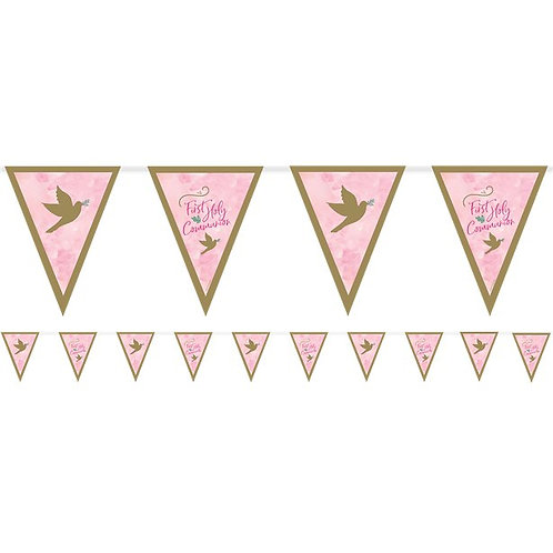 First Holy Communion Pennant Bunting Pink