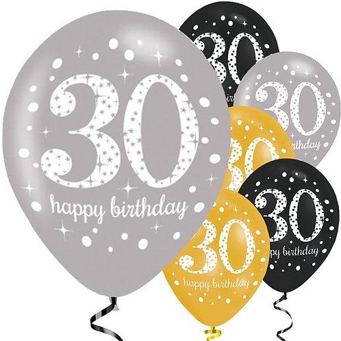 Happy 30th Birthday Gold Mixed Balloons