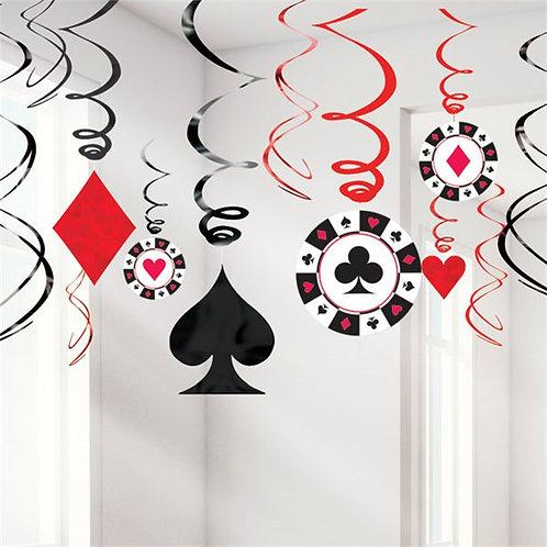 Casino Party Night Hanging Swirls Decorations