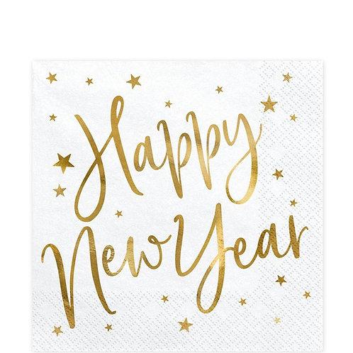 New Year White Metallic Napkins