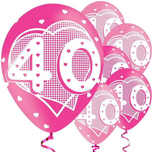 Happy 40th Birthday Pink Balloons
