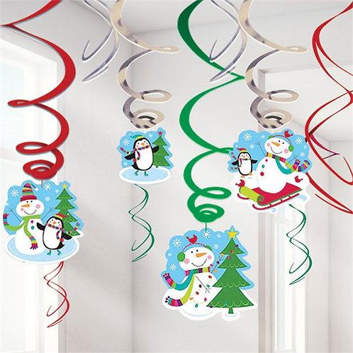 Christmas Snowman Hanging Swirls