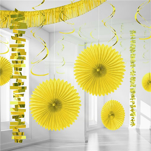 Yellow Paper & Foil Room Party Decorating Kit