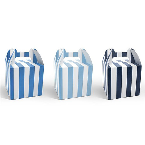 Blue Stripe Cupcake Boxes