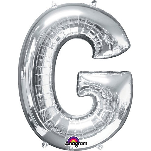 """Giant Foil Helium Letter G Balloons Size 34"""" Silver"""