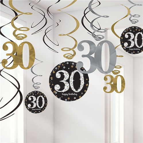 30th Gold And Silver Hanging Swirls