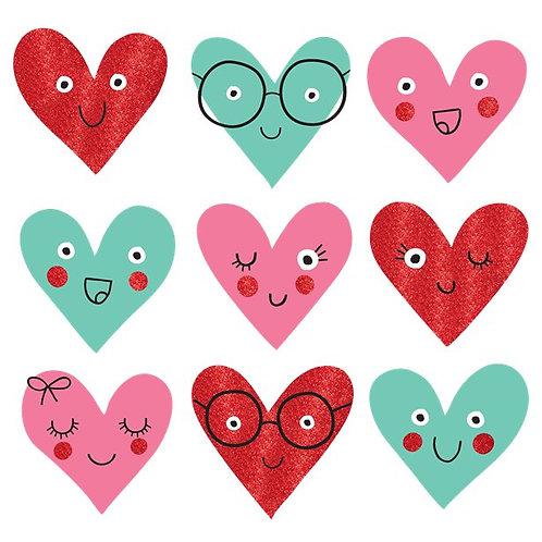 Heart Face Mini Glitter Cutouts