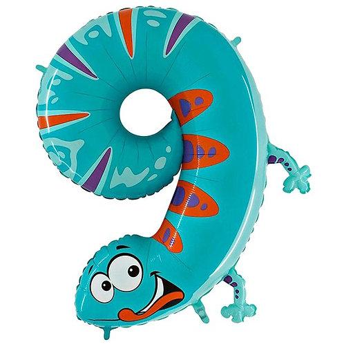 Gecko Helium Number 9 Foil Balloon