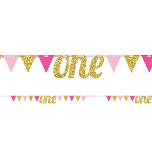 Number One Pink & Gold Glitter Bunting