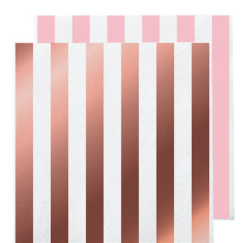 Metallic Rose Gold Stripe Napkins