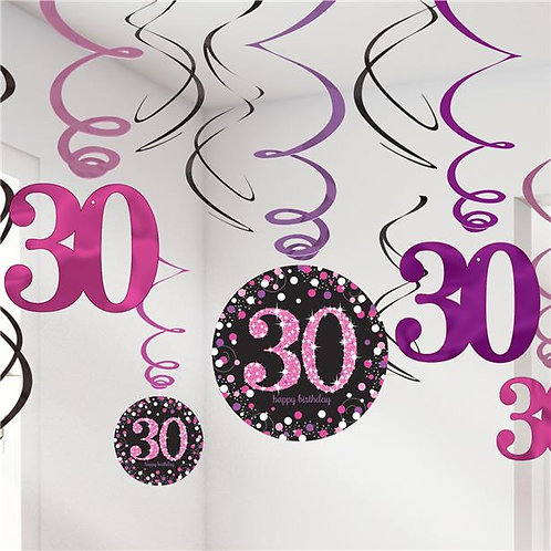 30th Pink Celebration Hanging Swirls
