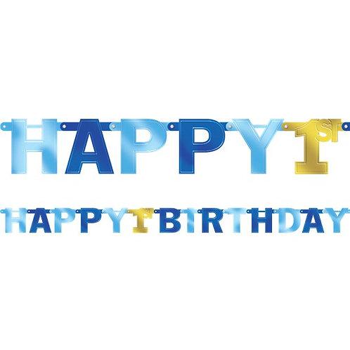 1st Happy Birthday Large Foil Letter Banner Blue