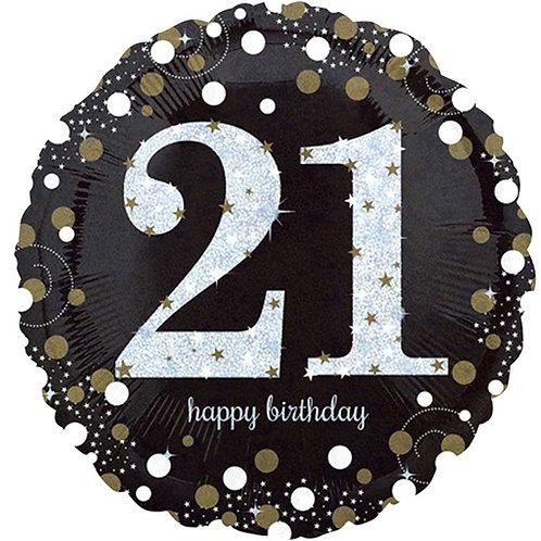 21st Gold Sparkling Foil Balloon
